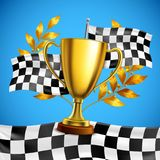 Golden Winner Trophy Realistic Poster. Gold race winner trophy with golden bay laurel wreath branches on checkered flag blue background vector illustration Royalty Free Stock Photos