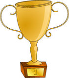 Golden winning cup. Cartoon of a golden winning cup with number 1 on Royalty Free Stock Images