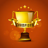 Golden winning cup with ribbon for Cricket. Stock Photography