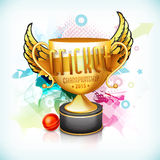 Golden winning trophy for Cricket Championship 2015. Golden winning trophy with wings, red ball and 3D text for Cricket Championship 2015 on colorful abstract royalty free illustration