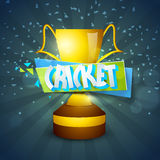 Golden winning trophy for Cricket match. Royalty Free Stock Photography