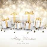 Golden winter background with christmas gifts. Royalty Free Stock Image