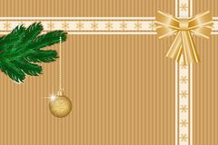 Golden winter background. Winter background with snowflakes pattern, ribbons, bow and fir-tree branch. Vector illustration EPS10 for Christmas or New Year card Stock Photo