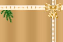Golden winter background. Winter background with snowflakes pattern, ribbons, bow and fir-tree branch. Vector illustration EPS10 for Christmas or New Year card Stock Images