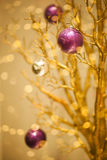 Golden Winter Background - Xmas Design Royalty Free Stock Photo