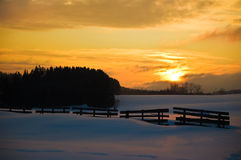 Golden Winter Landscape Stock Image