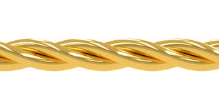 Golden wire, chain, 3D rendering Stock Images