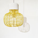 Golden wire pendant lamp Stock Photo