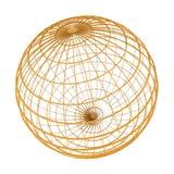 Golden wireframe globe. A golden wireframe globe symbol. Isolated on white background Stock Photography