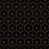 Golden wireframe hexagonal pattern - Square Background Stock Photography