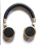 Golden Wireless Audio Hifi headphone isolated Royalty Free Stock Photography