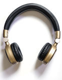Golden Wireless Audio Hifi headphone isolated Stock Photo