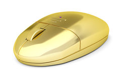 Golden wireless mouse Royalty Free Stock Image