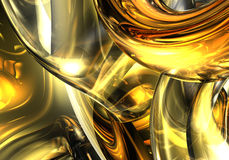 Golden wires 02. A Study of Form&Colors, rendered in Bryce Royalty Free Stock Photography