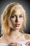 The golden woman Stock Photography