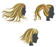 Golden woman hair model on dummies Royalty Free Stock Images