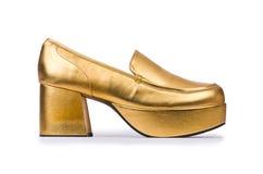 Golden woman shoes  Stock Photo