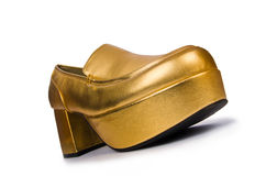 Golden woman shoes Stock Images