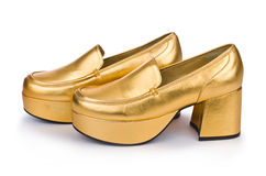 Golden woman shoes Royalty Free Stock Photography