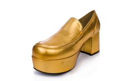 Golden woman shoes Royalty Free Stock Photo