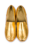 Golden woman shoes Stock Photography