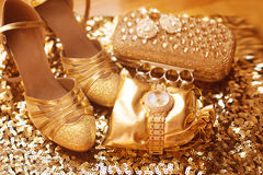Golden. Women clothes and accessories. Luxury jewelry. Fashion d Stock Photography