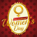 Golden Women's Symbol and Text for Women's Day Commemoration, Vector Illustration royalty free stock image