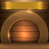 Golden wood background. For adding your logo Royalty Free Stock Image