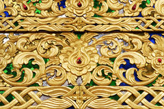Golden wood carve. Thai art wood carve with golden paint Royalty Free Stock Photos