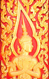 Golden Wood Carving traditional Thai Style Stock Photo