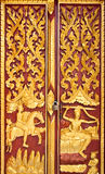 Golden Wood Carving,Traditional Thai Style Stock Photos