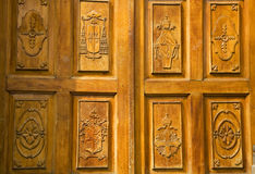 Golden Wood Church Door Mexico Stock Images