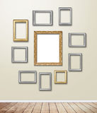 Golden wood Frame decor on wallpaper with light flare. Stock Image