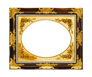 Golden wood frame isolated Stock Photo