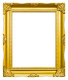Golden wood photo image frame isolated Royalty Free Stock Image