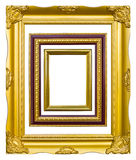 Golden wood photo image frame isolated. Ncient style golden wood photo image frame isolated on white background stock images