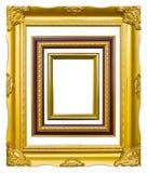 Golden wood photo image frame isolated Stock Images