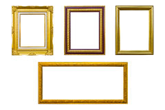 Golden wood photo image frame isolated. Acient style golden wood photo image frame isolated on white background royalty free stock photos