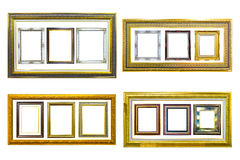 Golden wood photo image frame isolated Stock Photos