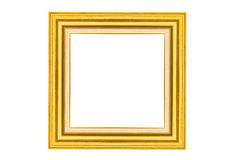 Golden wood picture frame Stock Photography