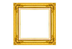 Golden wood picture frame Royalty Free Stock Photos