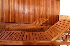 Golden wood spa hammock outdoor house Stock Photos
