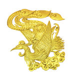 Golden wooden Chinese Swan isolated Stock Images