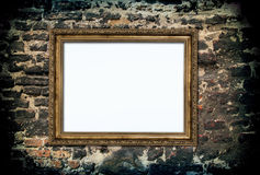Golden wooden frame Stock Images