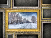 Golden wooden frame with beautiful landscape among other empty f Royalty Free Stock Images