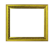 Golden wooden frame isolated Stock Image