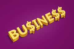 Golden word business and dollar signs Stock Photography
