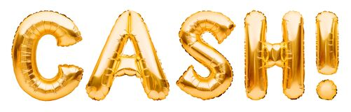 Golden word CASH made of inflatable balloons isolated on white. Gold foil balloon letters. Accounting, banking, money, salary,