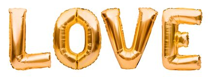 Golden word LOVE made of inflatable balloons isolated on white background. Gold foil balloon letters, concept of romance,
