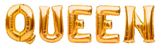 Golden word QUEEN made of inflatable balloons isolated on white background. Gold foil balloon letters. Party, birthday,